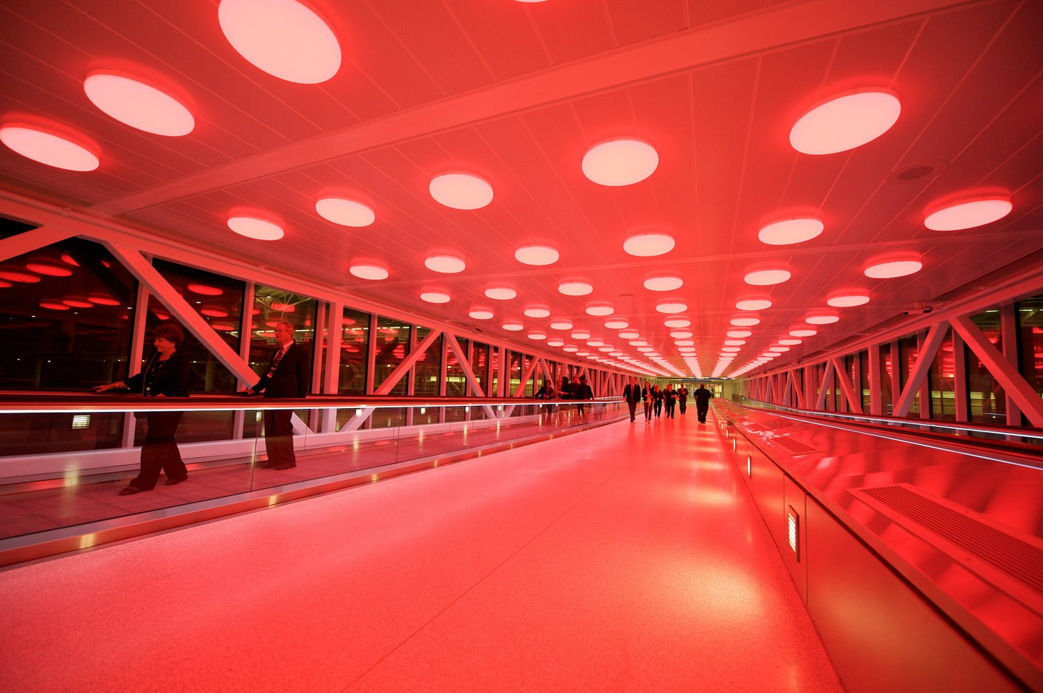 Red LED lights in terminal at Indianapolis airport