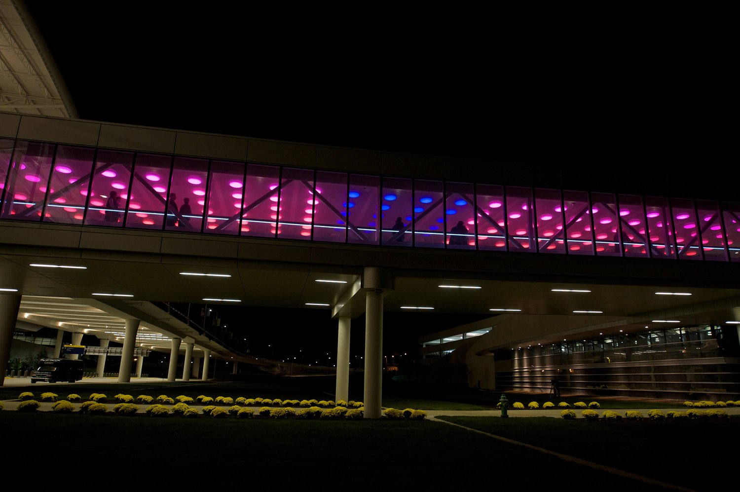 Outside photo of red and blue LED lights at Indianapolis airport