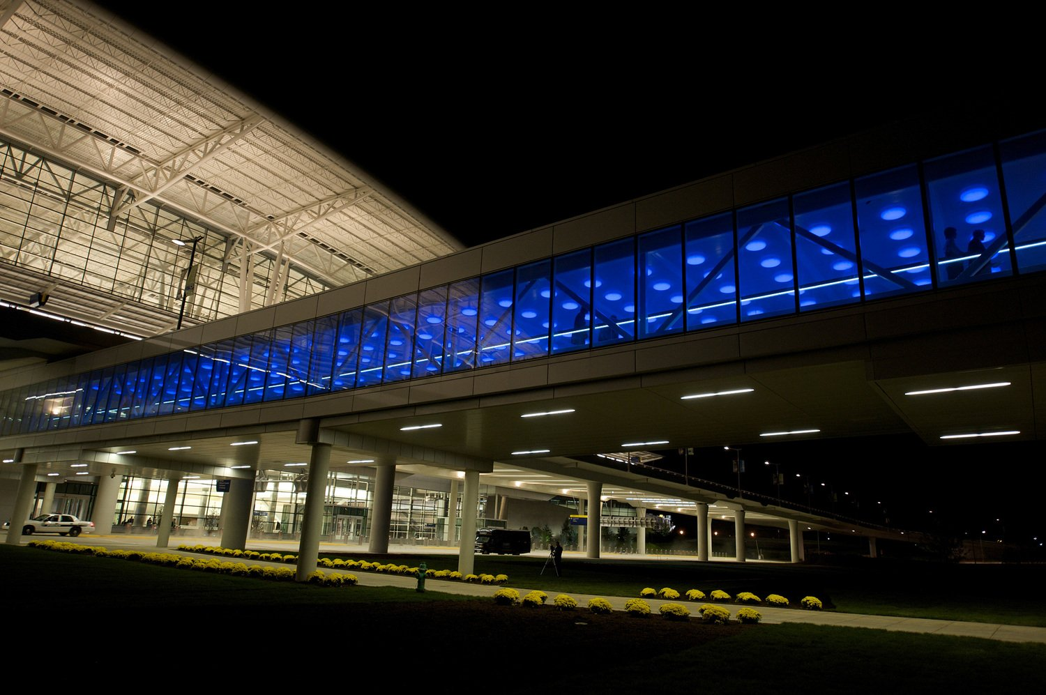 Outside photo of blue LED lights at Indianapolis airport