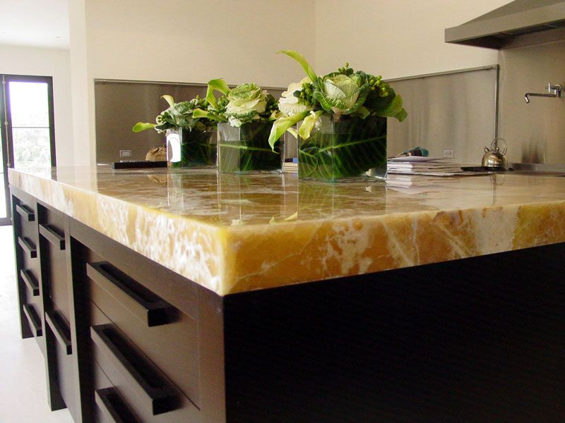 Marble countertop lit up by LED lighting